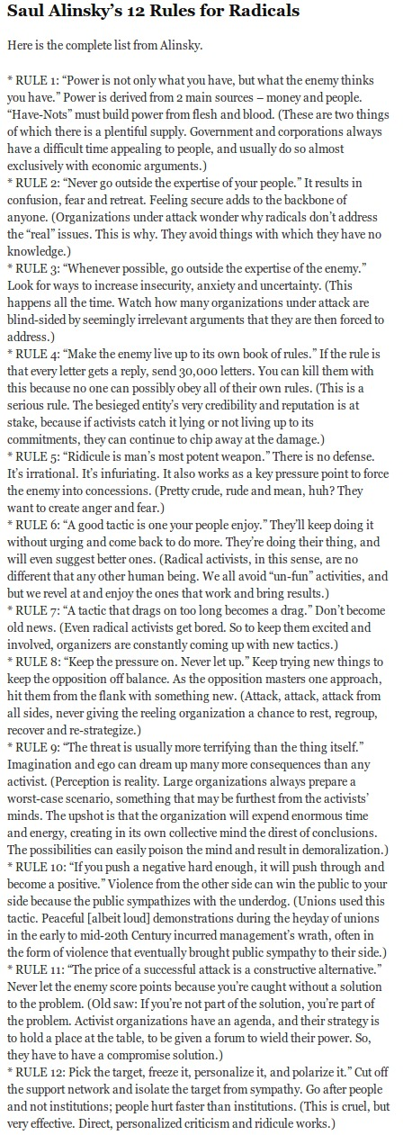 Saul Alinsky's 12 Rules for Radicals