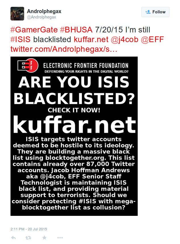 7 20 15 I'm still  ISIS blacklisted j4cob  EFF